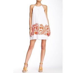 Lucky Brand floral embroidered white mini dress